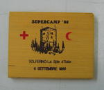 Small wooden souvenir: Supercamp '89. Solferino.