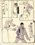 colour drawings showing scenes from a hospital