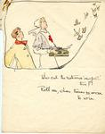 coloured drawing from the sketch book of Joyce Dennys, showing a hospital scene