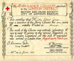 Certificate of John Robert Jones's membership of the Ambulance Column