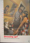 Large double-sided poster with colour image: 'Dressing up? Supporting your local British Red Cross Shop'. Produced with the Association of Charity Shops.