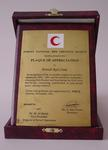 plaque of appreciation to British Red Cross from the Jordan National Red Crescent Society