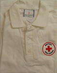 Medium white t-shirt with BRC three cloth patches on left breast and each sleeve.