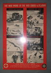 Laminated small poster in red, white and black. With 8 illustrated panels showing 'The War Work of the Red Cross & St John: Serving our Sailors. Serving the Army. Serving our Airmen. Serving on the Home Front'. With a message from HRH The Duke of Gloucester.