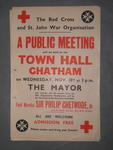 poster advertising a public meeting regarding the Red Cross and St. John War Organisation