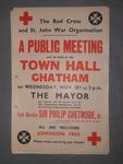poster advertising a public meeting regarding the Red Cross and St. John War Organisation