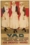 Poster featuring 3 VADs in uniforms of British Red Cross, St John Ambulance and Territorial Force.