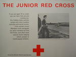 poster: 'The Junior Red Cross. If you are aged 16 or under you can learn first aid and nursing too. our Cadets enjoy summer camps and many outdoor activities and social events. Fully trained Junior Members work alongside our adult members at First Aid Posts and often have special duties helping elderly people or handicapped children.'