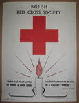"""poster: British Red Cross Society. """"How Far That Little Candle Throws His Beams. So Shines a Good Deed in a Naughty World"""" Merchant of Venice."""