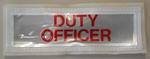 Rectangular reflective badge to be worn on outdoor workwear: DUTY OFFICER