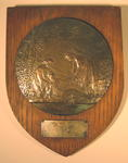 Wooden shield: B.R.C. V.A.D. CAMBS 13 FOR SERVICE