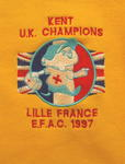 jumper printed with 'Kent UK Champions. Lille France E.F.A.C. 1997'