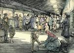 Colour ink drawing depicting a Second World War evacuation scene
