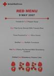 Small poster/menu for Dunant's Diner at UK Office: 'Menu 9 May 2007'