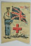 fundraising flag, showing a British soldier wearing convalescent blues, with his right arm in a sling