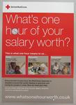 Poster advertising a payroll giving promotion - 'What's one hour of your salary worth?'