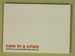 block of sticky notes: care in a crisis with the url for health and social care