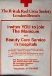 Poster promoting Red Cross Manicure and Beauty Care service