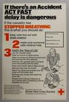 Poster promoting what to do if a casualty has stopped breathing.