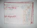 Embroidered cloth with names and flowers