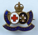 'Penny-a-Week Fund' badge, coloured metal.