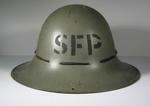 Tin helmet with painted letters SFP