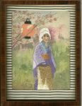 Framed embroidered picture of Japanese woman in garden.