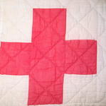 "quilt with label ""Gift of the Canadian Red Cross Society""."