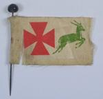 Collecting Day flag: Red [Maltese type] Cross with green leaping antelope