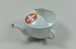 China feeding cup with gold rim and white Geneva cross on red circle