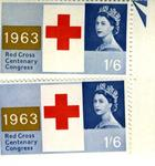 set of two postage stamps: Red Cross Centenary Congress 1963, 1/6'