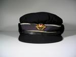 British Red Cross navy blue cap with gilt hat badge, name Bayley written in ink in lining.