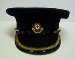 Officer's peaked cap with enamel hat badge and gold braid