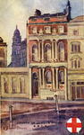 Coloured postcard of a painting signed K Bland Strange, showing the County of London office