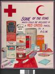 One of a set of five laminated posters, produced for a training course: SOME OF THE ITEMS WHICH COULD BE INCLUDED IN A RED CROSS PARCEL TO A P.O.W.