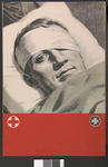 Large poster featuring a black and white photograph of the bandaged head of a serviceman in bed, without text.
