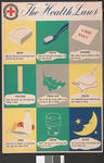 Large colour poster showing the nine health laws of the Junior Red Cross, illustrated: The Health Laws