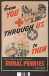 Large poster featuring pennies rolling down a street from the country to prisoners of war: 'From You Through Us to Them. Give Generously to your Rural Pennies Fund.'