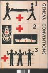 poster illustrating three of the Geneva Conventions