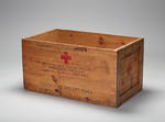 Large wooden crate 'from American Red Cross' originally containing Junior Red Cross 'gift boxes'