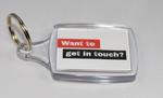 Keyring promoting the Red Cross International Tracing and Message Service