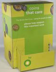 Large cardboard collecting box, 'Coins that Care'