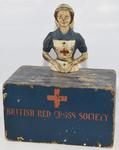 A British Red Cross Society wooden collecting box depicting a VAD (Fragile)
