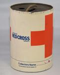 Metal cylindrical collecting box with the words 'The British Red Cross Society'