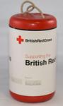 Cylindrical collecting box: 'Supporting the British Red Cross'