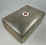 Silver cigar box with enamelled Red Cross emblem