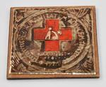 Decorative drinks coaster with Red Cross emblem