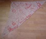 Triangular bandage with pink/red drawings illustrating how to use it. Features British Red Cross stamp, maker stamp and also the name of the owner, M E Cooper.
