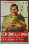 """Laminated poster featuring a soldier behind barb-wire clutching a food parcel with the words """"a bit of home"""""""