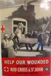 Poster produced by the British Red Cross Society and the Order of St John. Illustrated with uniformed members of the Red Cross and St John unloading patients from an ambulance and ship.
